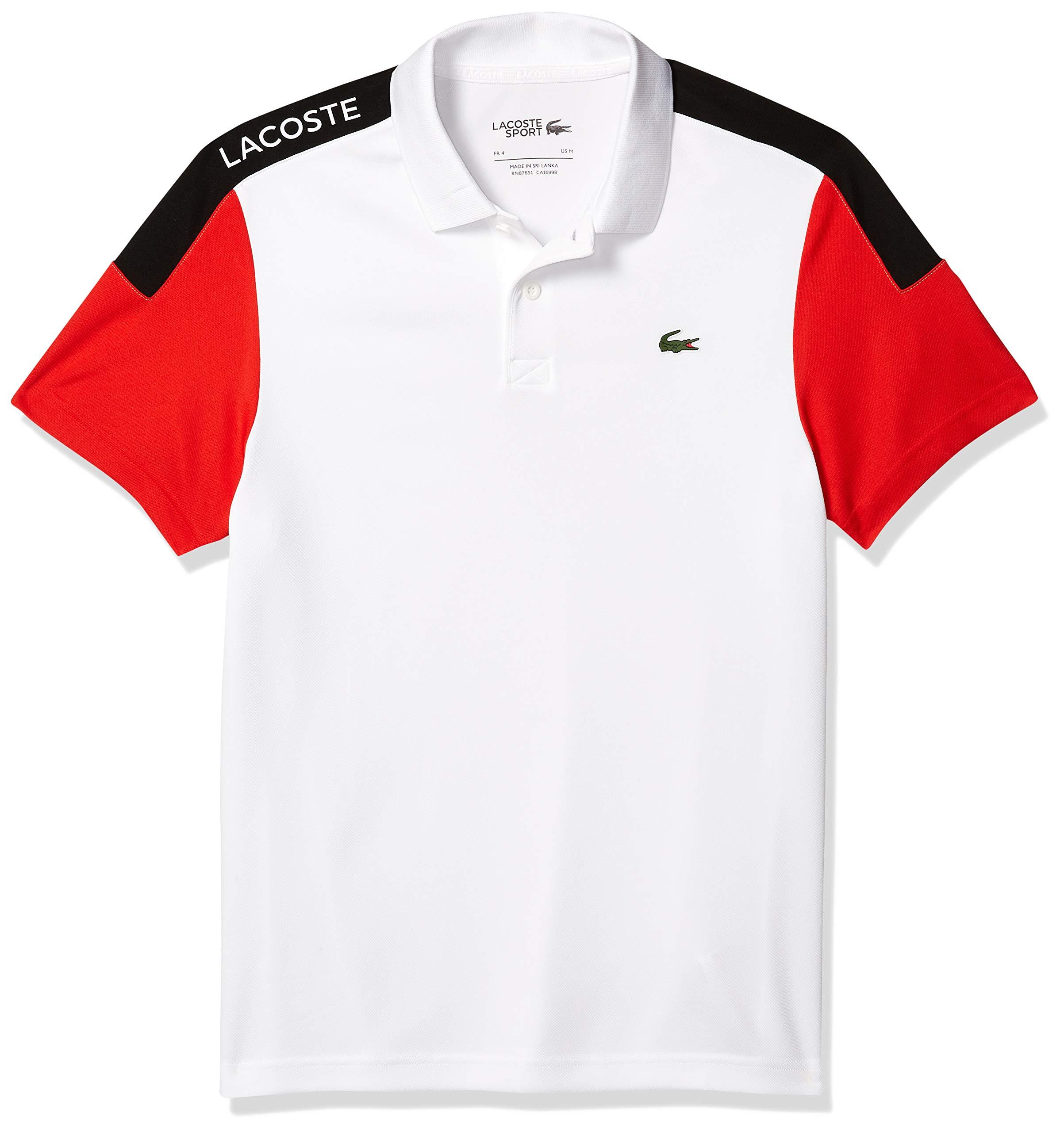 L Lacoste Mens Sport Miami Open Ultra Dry Colorblock Polo Shirt Bermuda//White-Bermuda