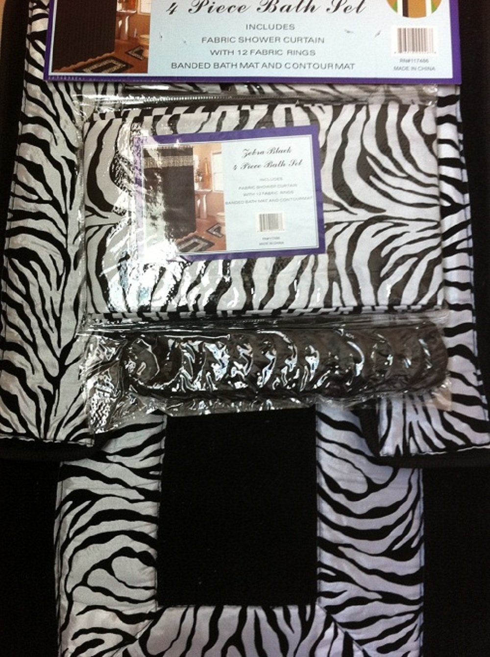 Amazon.com: 4 Piece Bath Rug Set/ 3 Piece Black Zebra Bathroom ...
