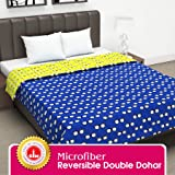 Divine Casa Twilight Microfiber All Weather Double Dohar, Abstract- Yellow and Blue