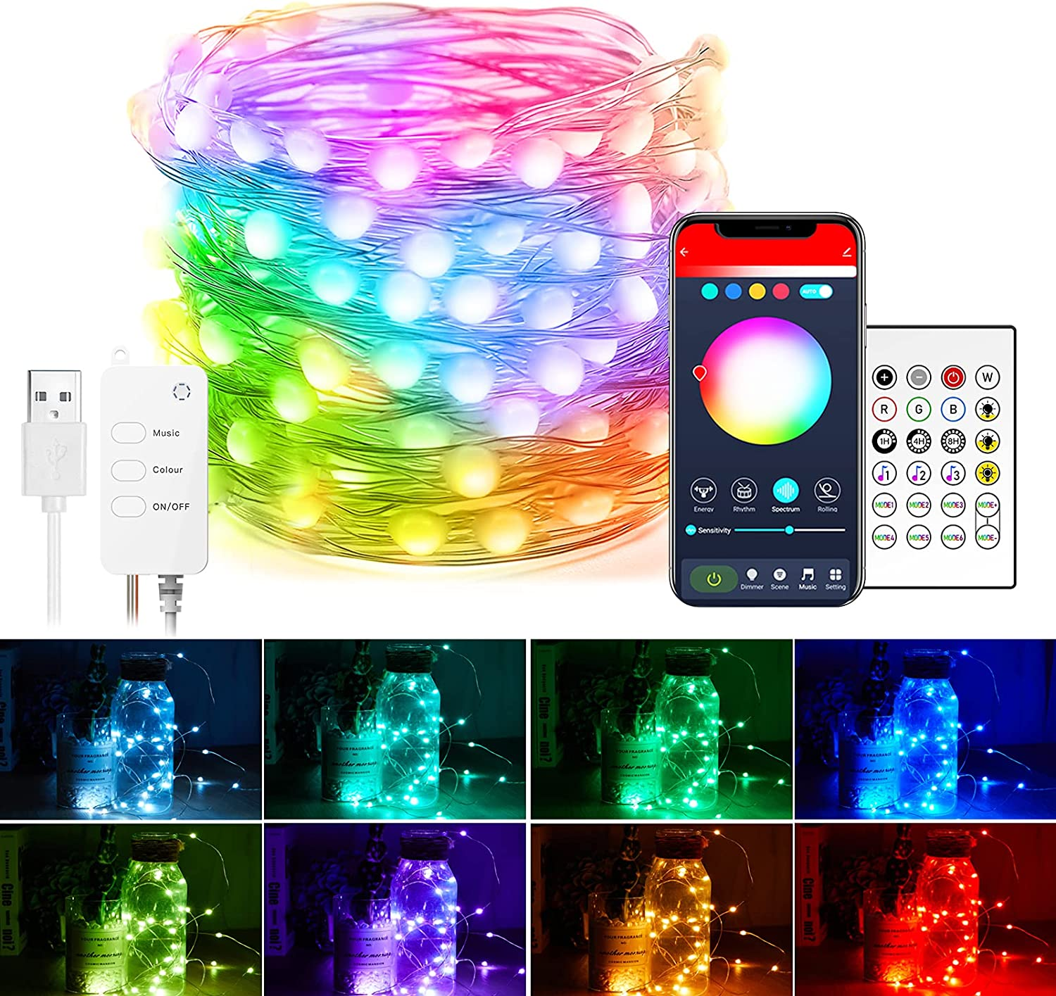 Smart Fairy String Lights: 32.8 Ft 66 LED USB Bluetooth Twinkle Lights with Timer and Remote, Music Sync and App Controlled Funny Modes Color Changing Firefly Lights for Bedroom Indoor Christmas Decor