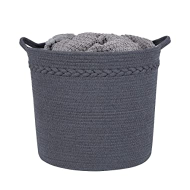 Large Storage Woven Basket, Decorative Basket for Toys, Blankets, Laundry, Towel, Magazine, Baby Nursery Basket by Braided Crown (Gray)