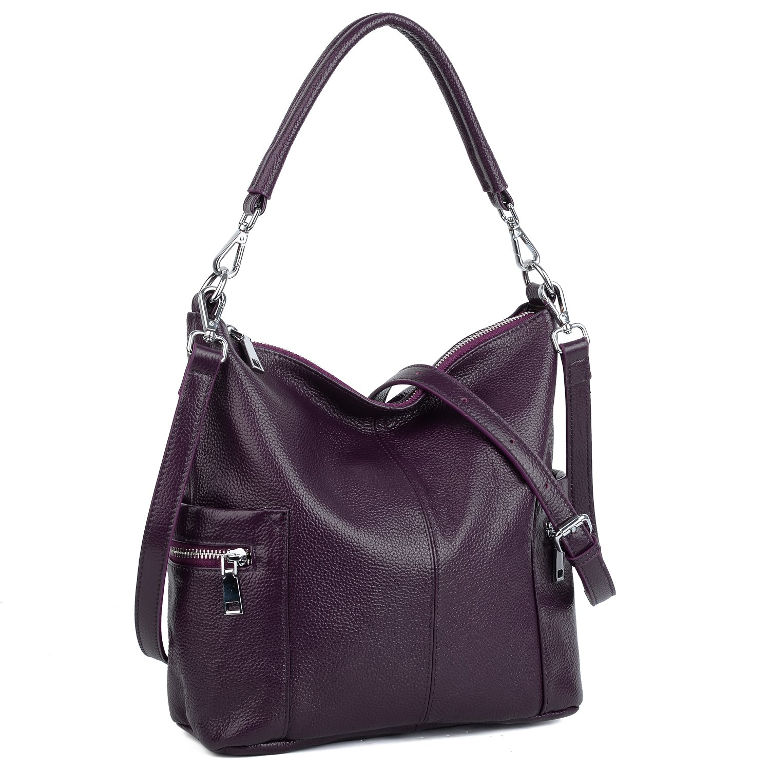 YALUXE Women's Multi Pocket Soft Cowhide Leather Medium Purse Hobo Style Shoulder Bag Purple