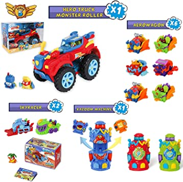 SuperZings Serie 5 - Pack Superzings Hero Truck Monster Roller, 6 Aerowagon, 1 Kazzom Machine y 2 Skyracers | Regalos para Niños: Amazon.es: Juguetes y juegos