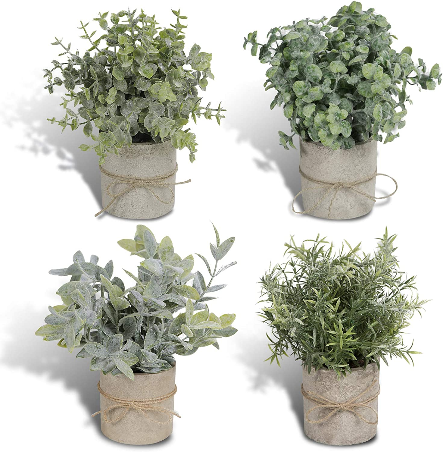 Joyhalo 4 Pack Artificial Potted Plants Faux Eucalyptus & Rosemary Greenery in Pots Small Houseplants for Indoor Tabletop Decor