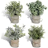 Joyhalo 4 Pack Artificial Potted Plants Faux Eucalyptus & Rosemary Greenery in Pots Small Houseplants for Indoor Tabletop Dec