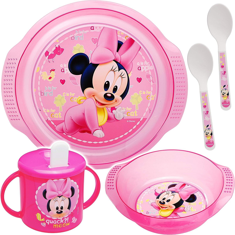 alles-meine.de GmbH 5 TLG BPA frei Geschirrset 2 L/öffel Minnie Mouse Teller inkl Trinktasse // Trinklernbecher Name Disney M/üslischale // Suppensch/üssel Unterla..
