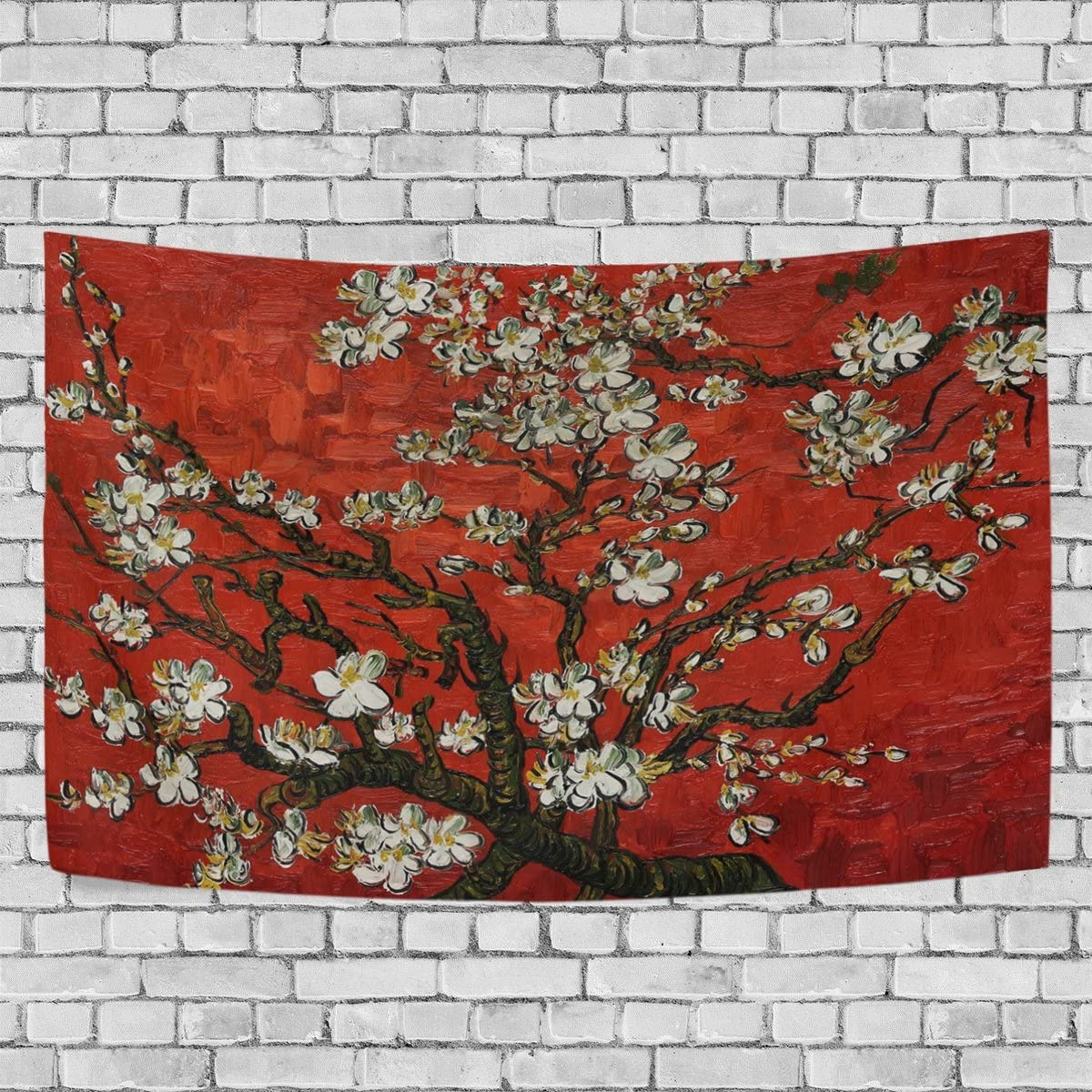 Donnapink Red Branches of an Almond Tree in Blossom by Vincent van Gogh 60 X40 Wall Hanging Throw Bedspread For Home Livingroom Dorm
