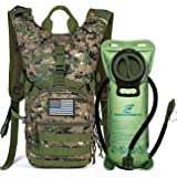 Tactical MOLLE Hydration Pack Backpack 900D with 2L Leak-Proof Water Bladder, Keep Liquids Cool for Up to 4 Hours, Outdoor Daypack for Cycling, Hiking, Running, Climbing, Hunting, USA Flag Patch