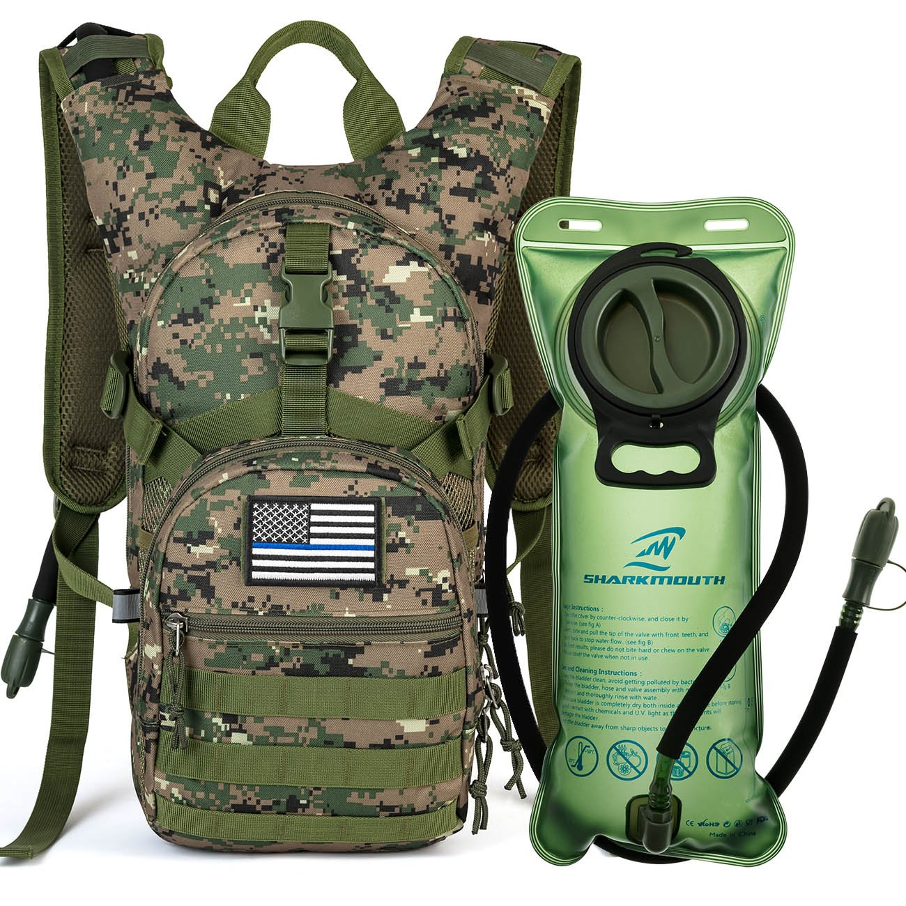SHARKMOUTH Tactical MOLLE Hydration Pack Backpack 900D with 2L Leak-Proof Water Bladder, Keep Liquids Cool for Up to 4 Hours, Outdoor Daypack for Cycling, Hiking, Running, USA Flag Patch, ACUGreen by SHARKMOUTH