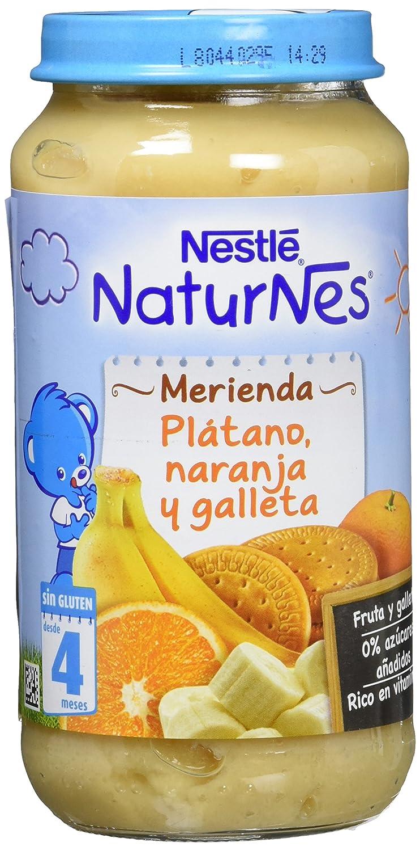 Nestlé Purés Merienda, Tarrito de puré de fruta y galleta sin gluten, variedad Plátano, Naranja y galleta - Para bebés a partir de 4 meses - Paquete ...