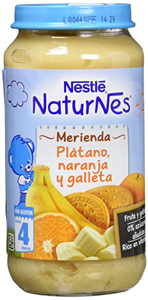 NESTLÉ Purés Merienda, tarrito de puré de fruta y galleta sin gluten, variedad Plátano