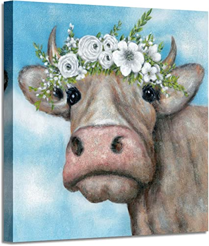 Animals Picture Cow Canvas Artwork Colorful Cow Wall Art Painting Farm Animals on Canvas for Bedroom 24 x 24 x 1 Panel