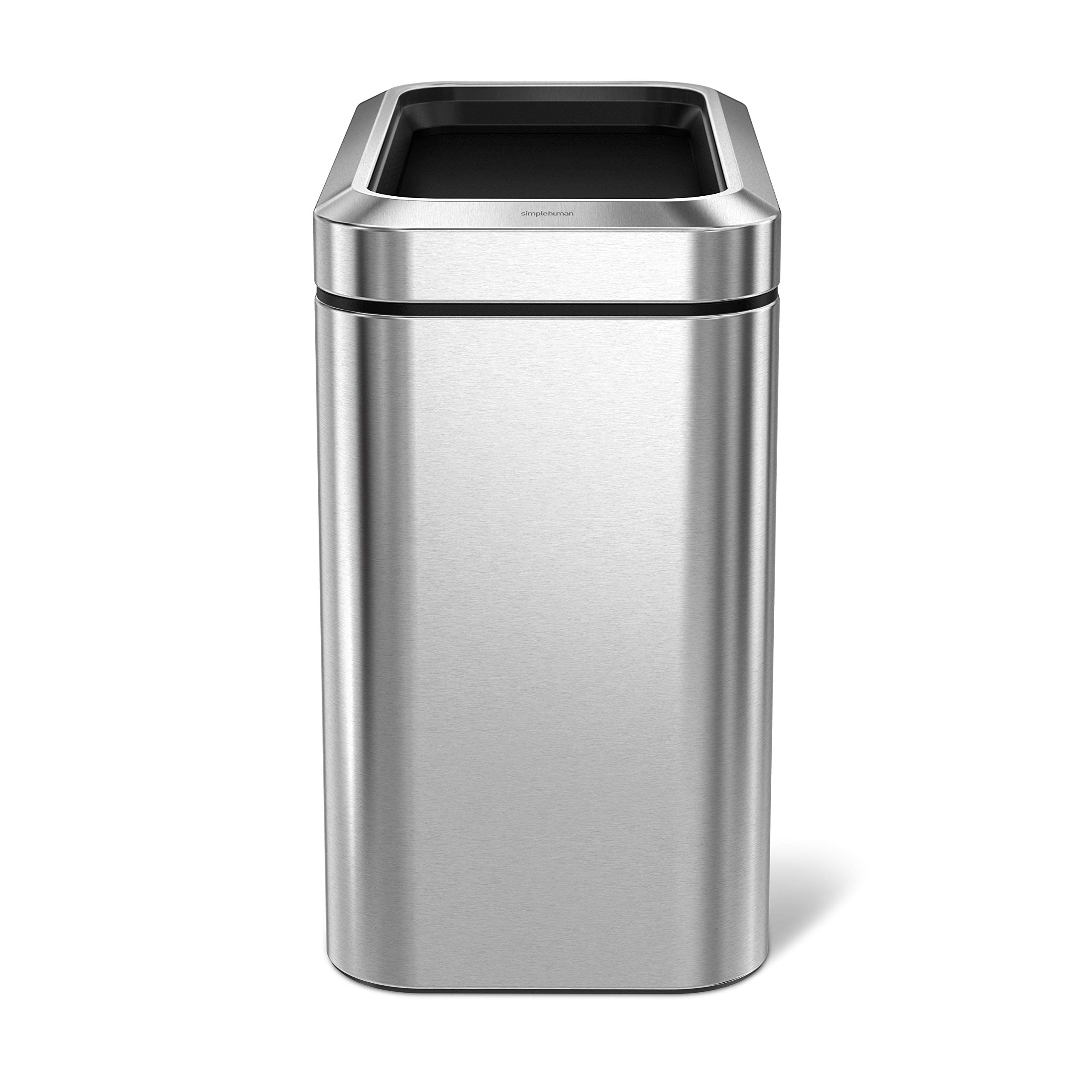 simplehuman 25 Litre Slim Open Commercial Trash can, Brushed Stainless Steel 25 L (6.6 Gal), 2 Piece