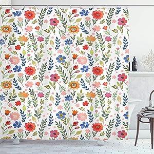 "Ambesonne Flower Shower Curtain, Shabby Form Botany Florets Soft Tones Feminine Flourishing Wreath Watercolor Design, Cloth Fabric Bathroom Decor Set with Hooks, 70"" Long, Coral Blue"