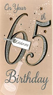 65th Birthday Hand Finished Female Age 65 Champagne Range Greeting Card