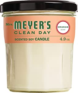 Mrs. Meyer's Clean Day Scented Soy Candle, Small Glass, Geranium, 4.9 oz