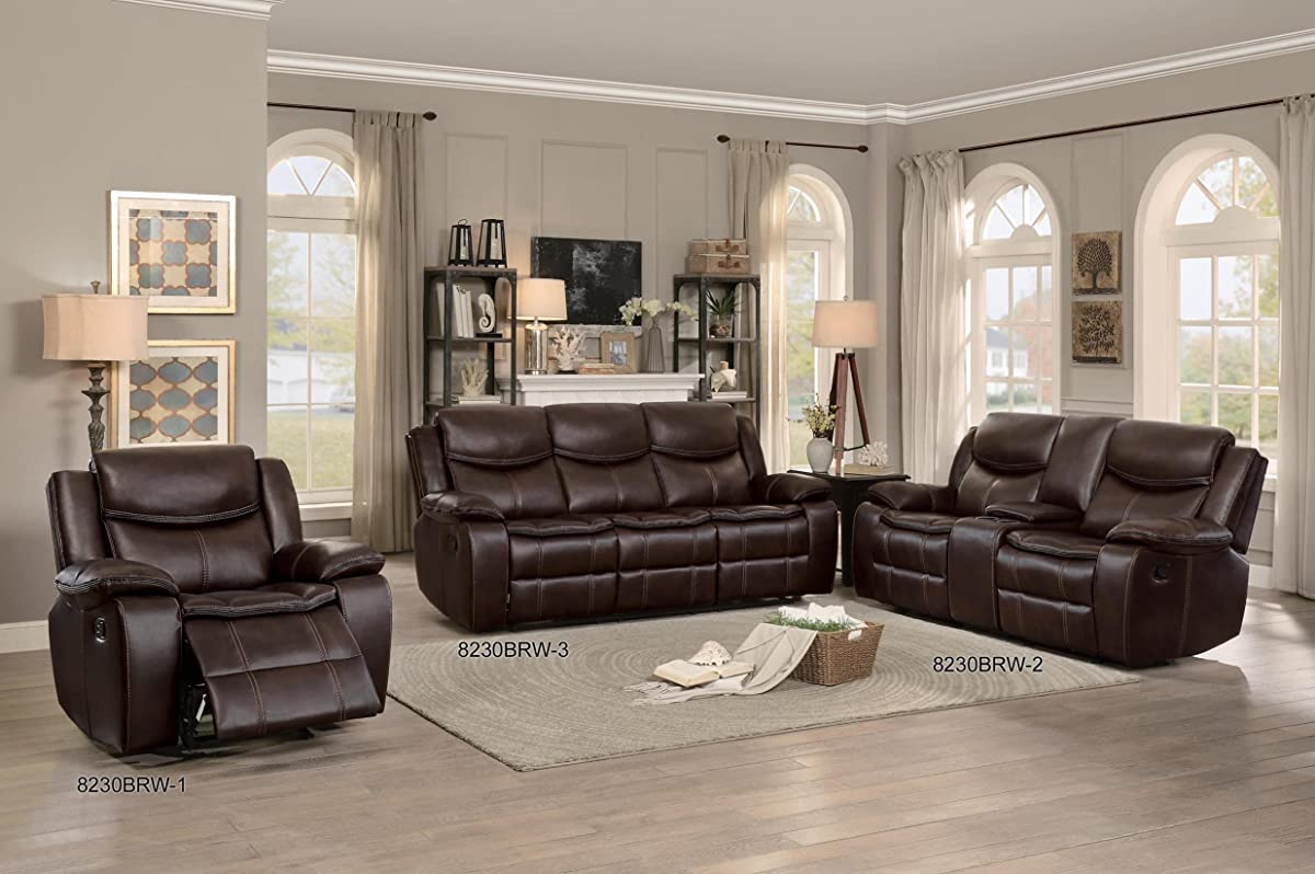 Homelegance Bastrop Double Glider Reclining Loveseat Leather Gel Matched with Accent Stitching, Brown