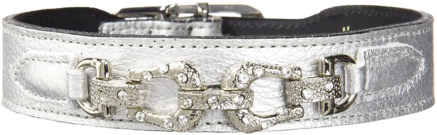 Hartman & pink 106 After Eight Dog Collar, 14 to 16-Inch, Metallic Silver