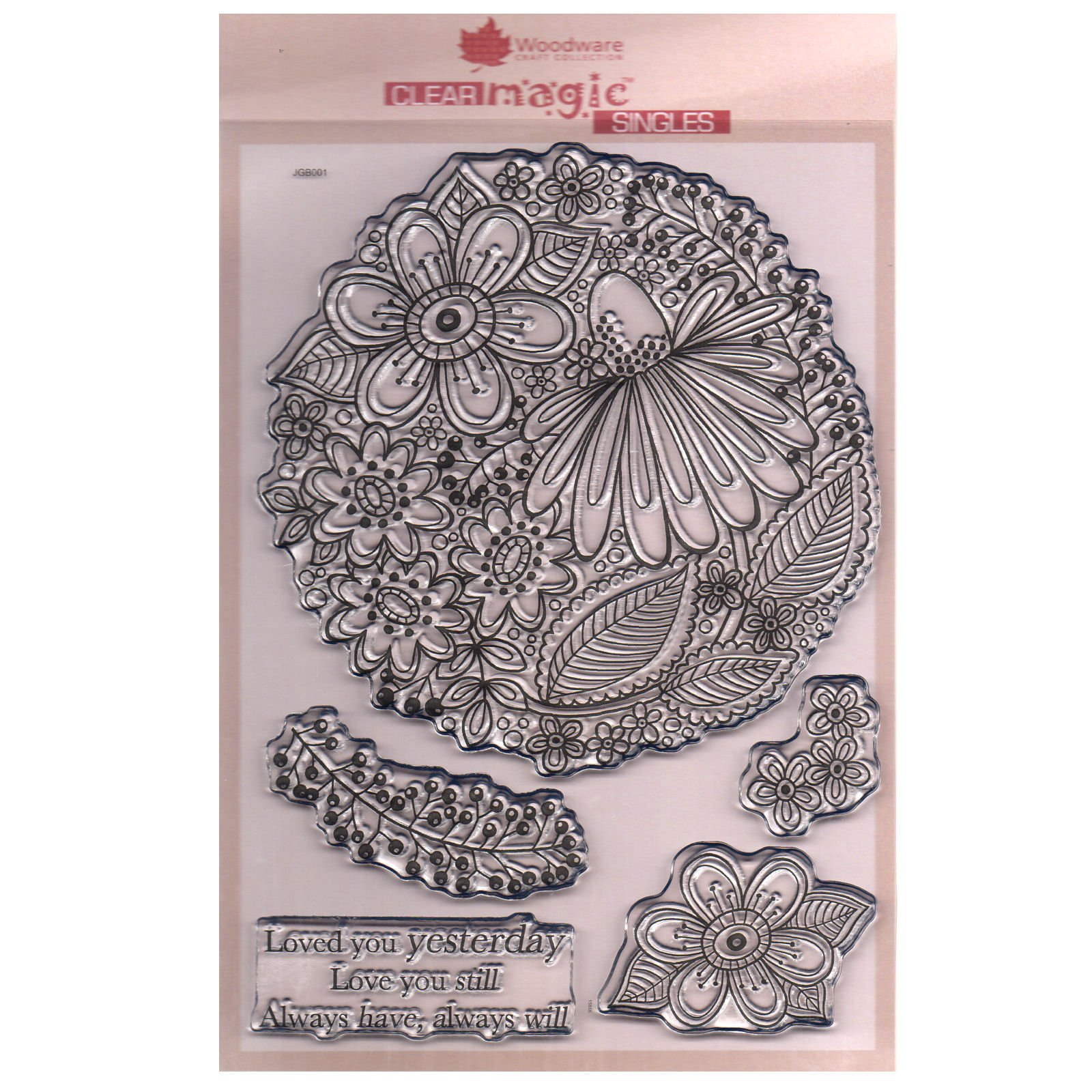 Woodware A5 Clear Cling Stamps - JGB001 Jacqui's Garden by WoodWare
