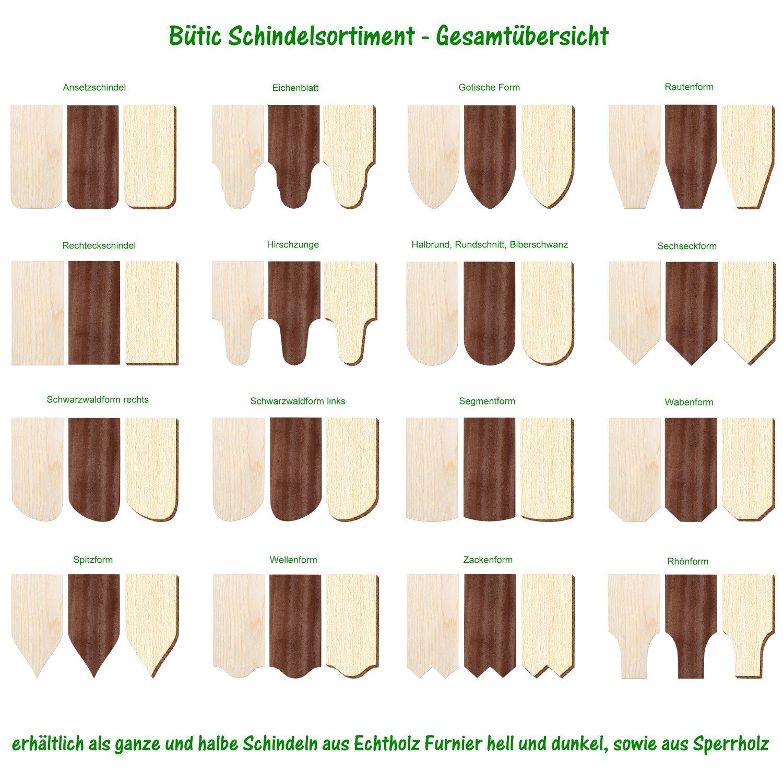 und Mengenauswahl Größen Ansetzschindel Echtholz Furnier helle Schindeln
