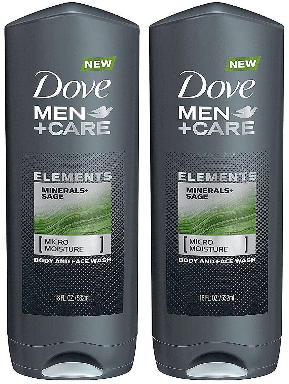 Dove Men + Care Body And Face Wash - Elements - Minerals + Sage - Net Wt. 18 FL OZ (532 mL) Per Bottle - Pack of 2 Bottles