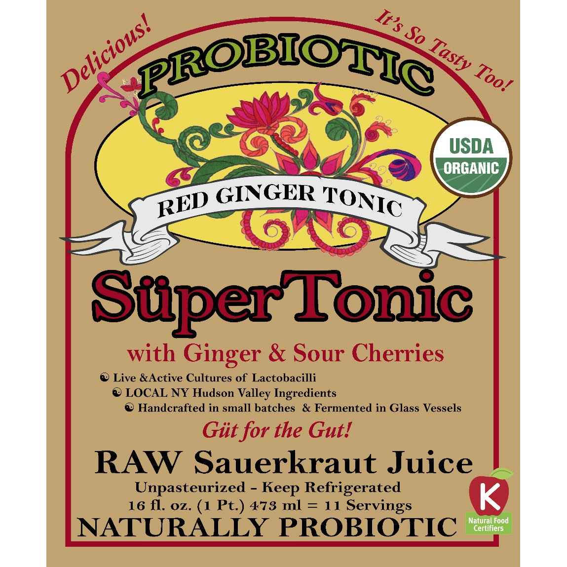 Red Ginger SuperTonic: organic, naturally probiotic. 11 servings per bottle. No shipping charges with minimum. Pure juice of our raw fermented sauerkraut, unpasteurized, kosher, vegan, gluten free