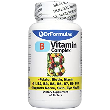 DrFormulas Vitamin B Complex with B1, B2, B3, B6, B12, Folate