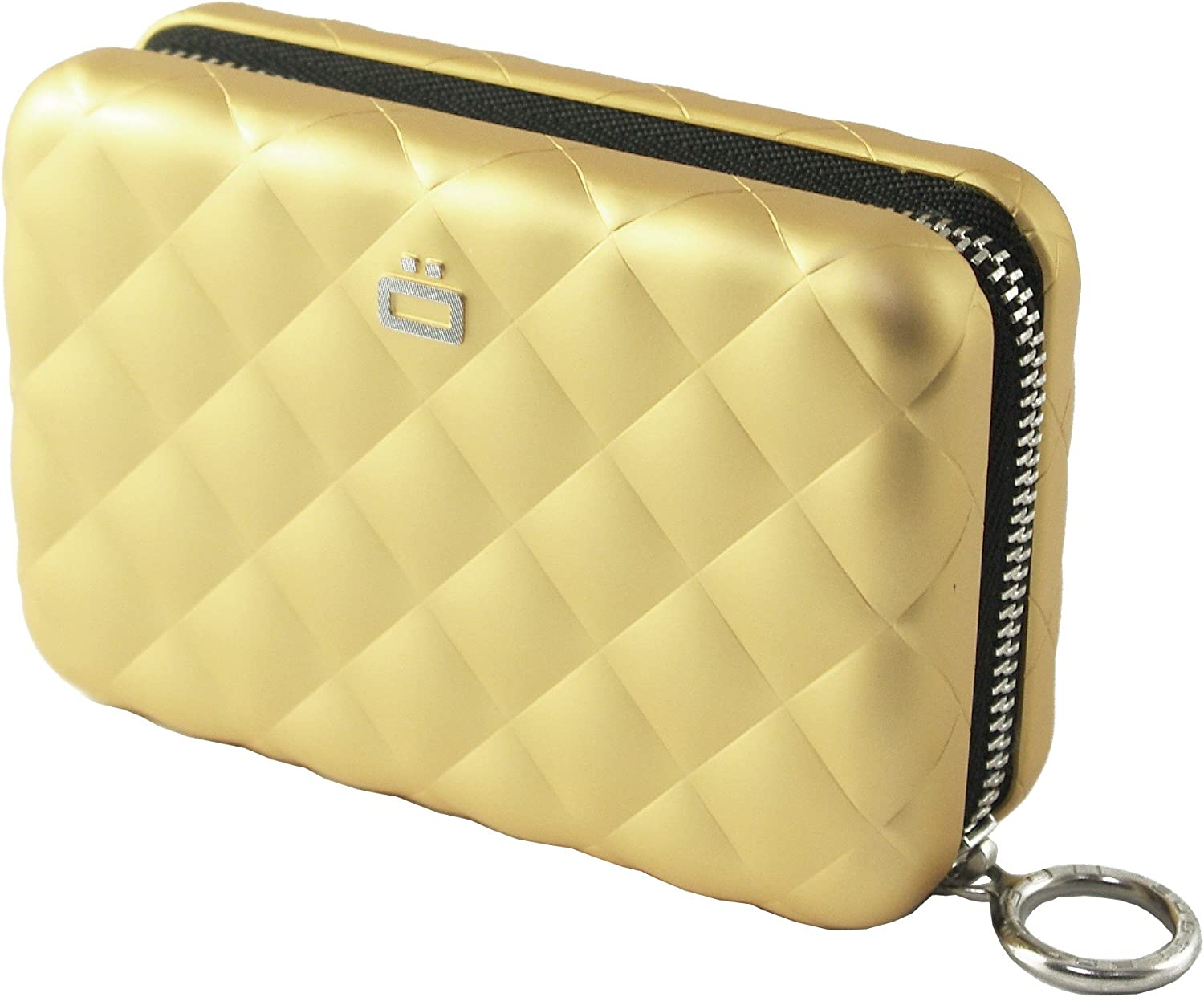 SILVER NEW from France Ogon Designs Quilted Button Aluminum Wallet Card Case