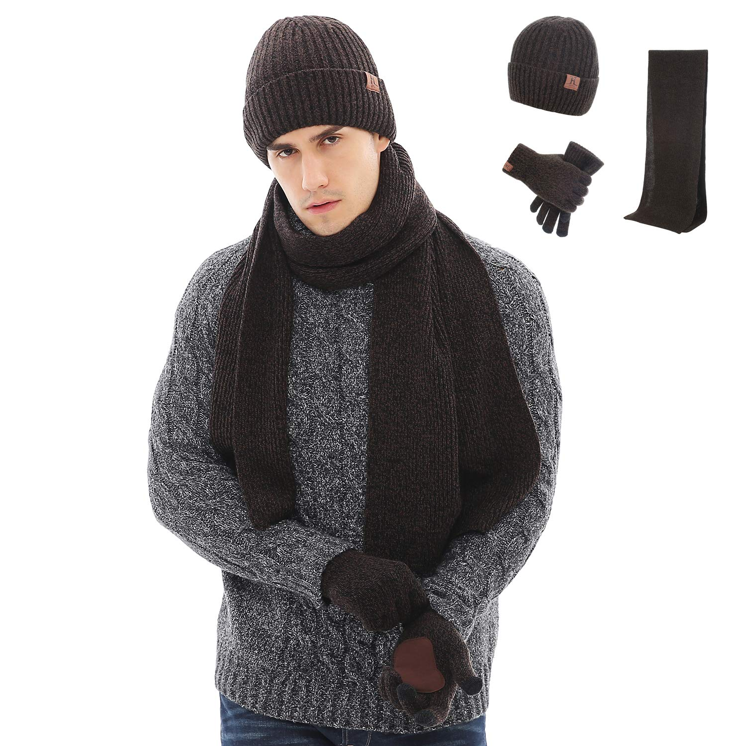 Maylisacc Winter 3Pcs in 1 Warm Thick Knit Beanie Hat Long Scarf and Touchscreen Driving Gloves Set for Men