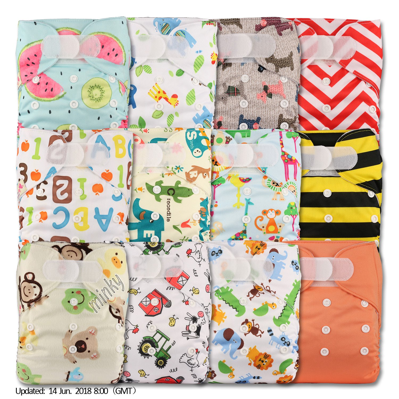 LittleBloom, reutilizable bolsillo pañal de tela, cierre: Velcro, Set de 12, varios patrones diseños 1201 Talla:12 pañales solo: Amazon.es: Bebé