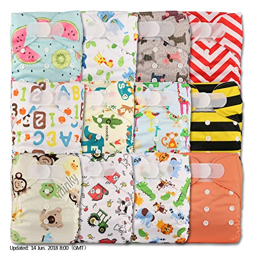 Littles & Bloomz, Reusable Pocket Cloth Nappy, Fastener: Hook-Loop, Set of 12, Patterns 1204, With 12 Microfibre and 12 Bamboo Inserts