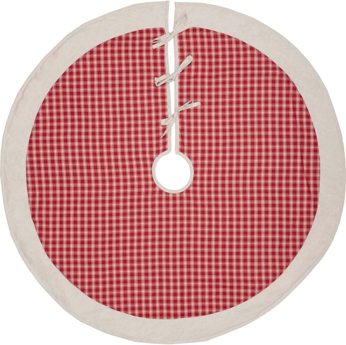"VHC Brands Holiday Decor-Red Plaid Tree Skirt, 48"" Diameter"