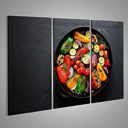 Quadri moderni verdure alla griglia in una griglia padella di ferro ...