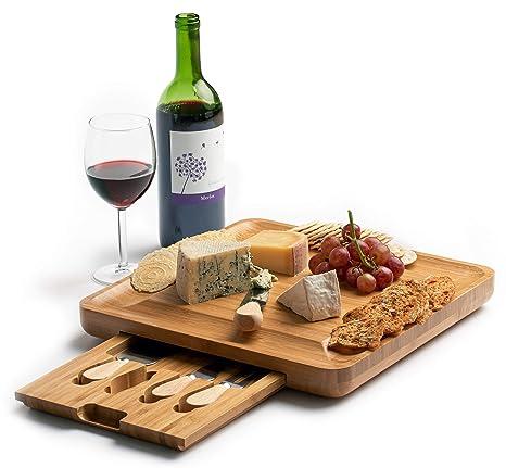 Amazon.com: Tabla de queso de bambú con juego de cuchillos ...