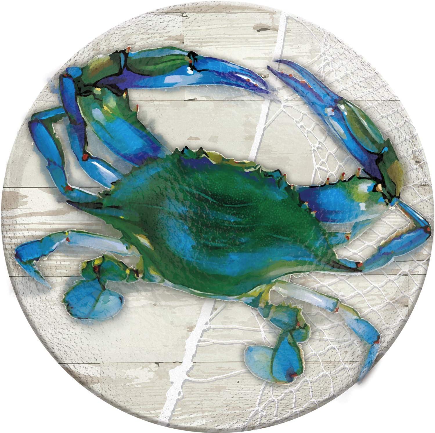Blue Crab Evergreen Garden 18 Hand Painted Embossed Glass Bird Bath