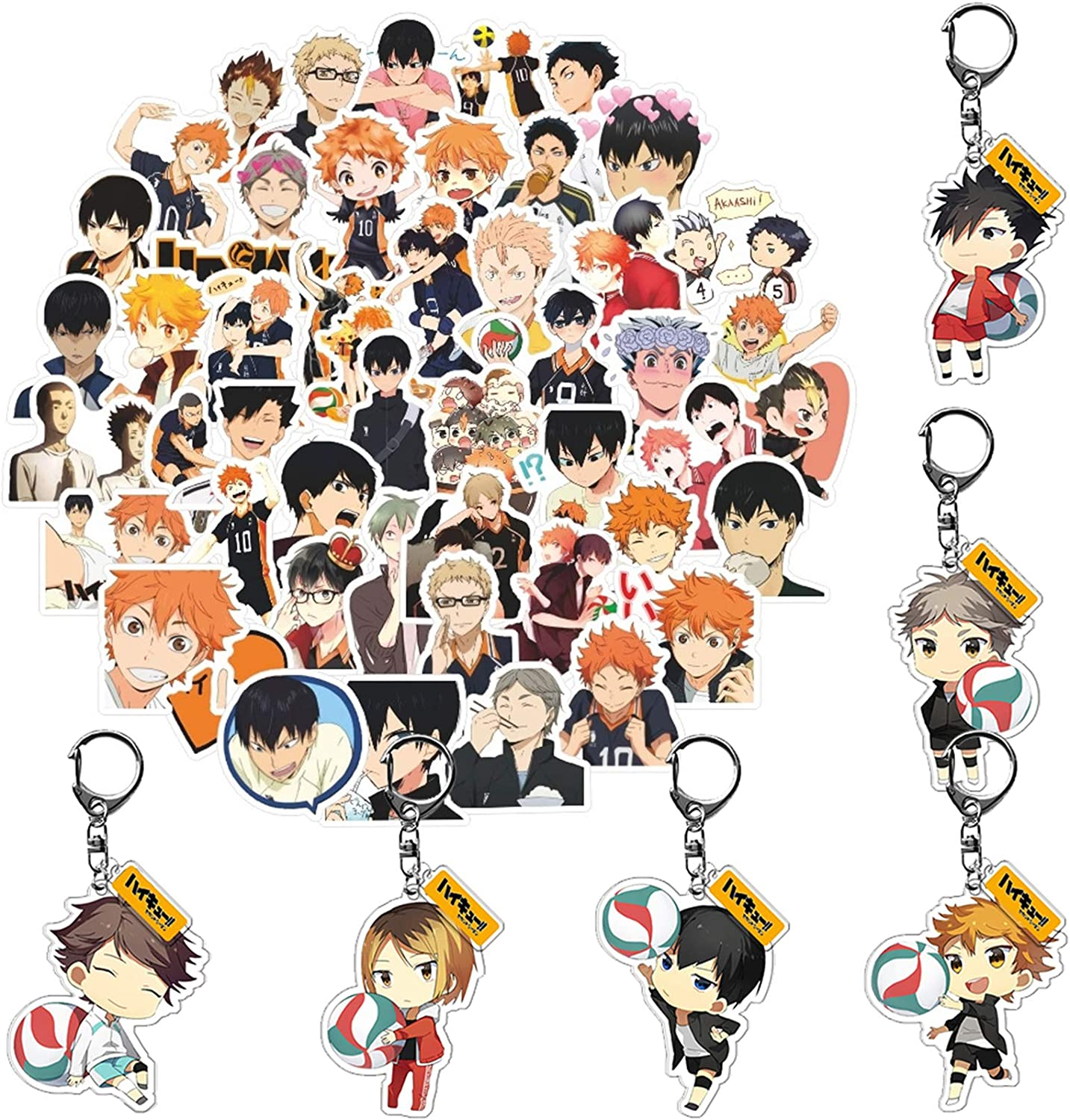 Haikyuu Stickers Keychains Pack of 50pcs Stickers 6pcs Keychains for Anime Fans Waterproof Durable Stickers for Laptop Water Bottle Skateboard Bicycle Luggage Notebook Phone Case