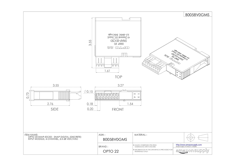 Opto 22 SNAP-IDC5D - SNAP Digital (Discrete) Input Module, 4-Channel,  2.5-28 VDC/VAC: Io Modules: Amazon.com: Industrial & Scientific
