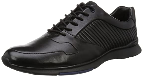 Clarks Vennor Vibe, Zapatos de Cordones Derby para Hombre, Negro (Black Leather), 42.5 EU