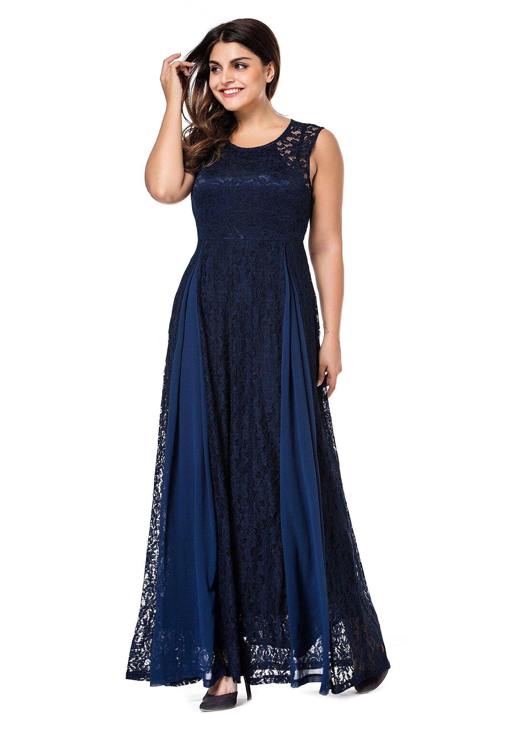 Esprlia Women's Plus Size Lace Sleeveless Evening Party Formal Maxi Dress - 3X Plus - Blue
