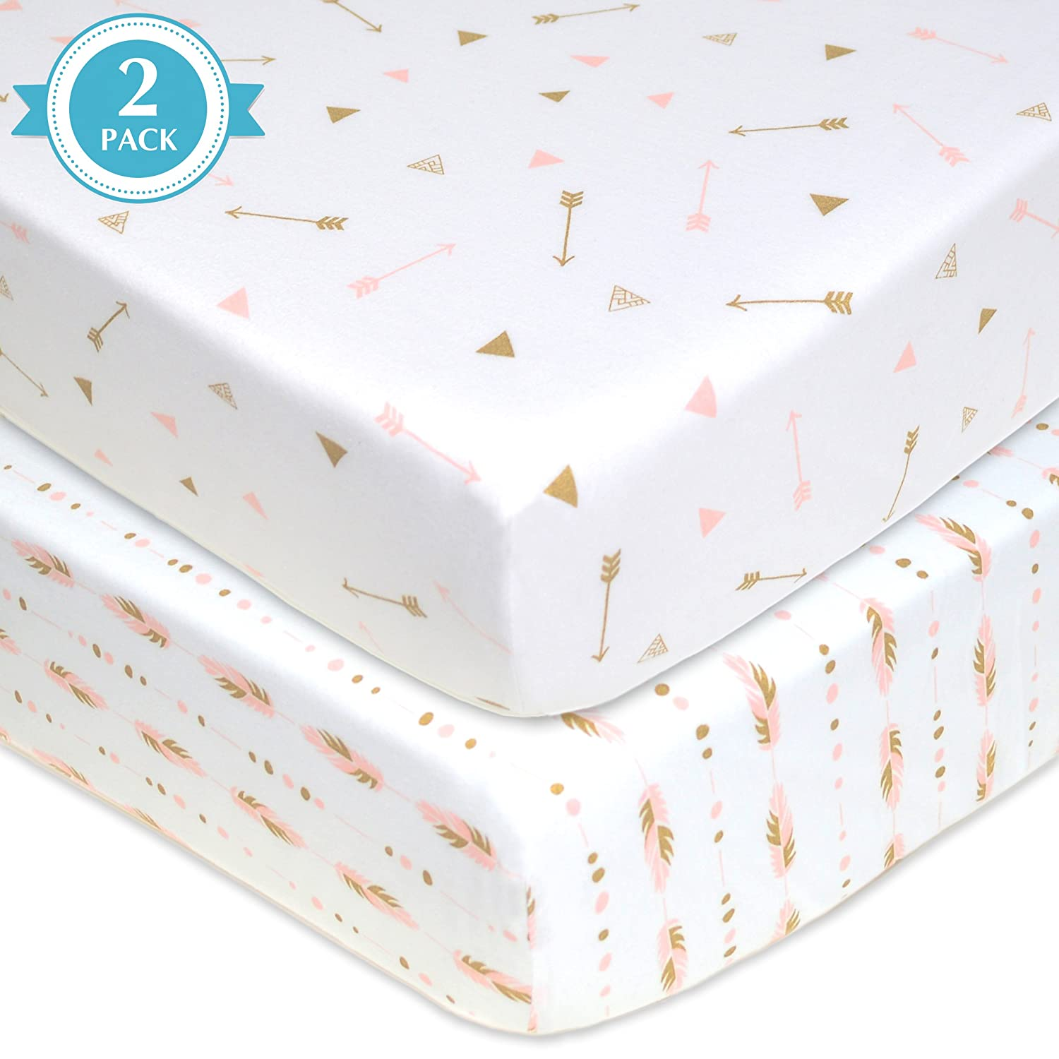 American Baby Company 2 Pack Printed 100% Cotton Jersey Knit Fitted Crib Sheet for Standard Crib and Toddler Mattresses, Sparkle Gold/Pink Feathers/Arrows, for Girls