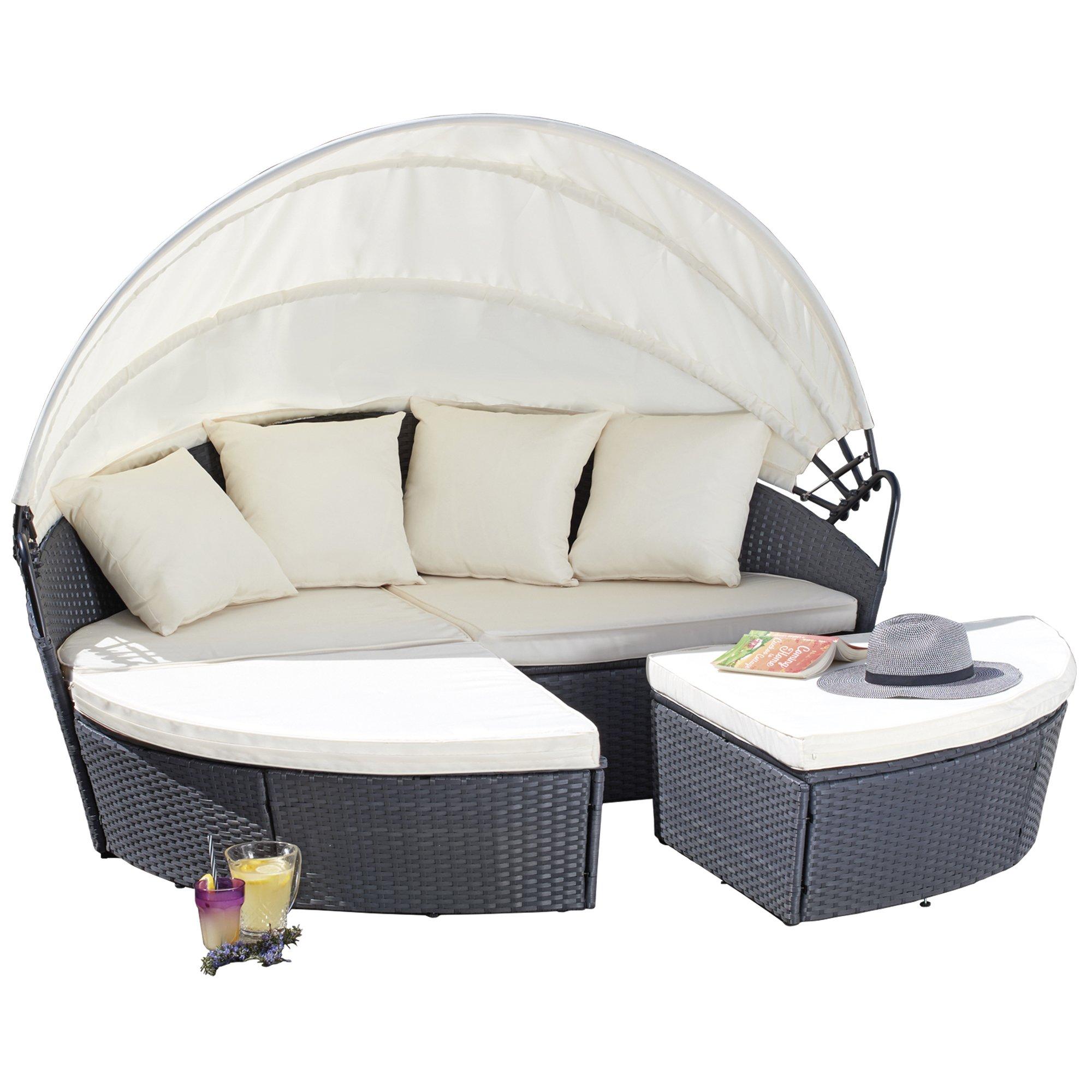- Garden Gear 180cm 3 Piece Rattan Daybed Outdoor Furniture Set With