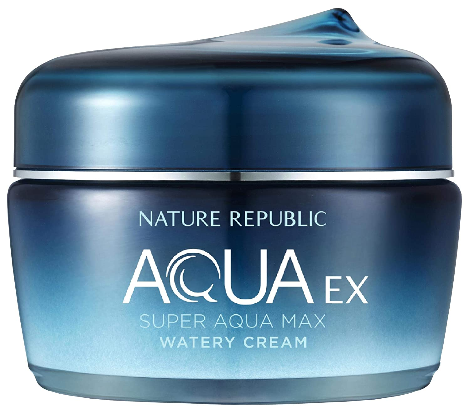 Nature Republic Super Aqua Max Ex Watery Cream - Moisturizing Cream with ocean ingredients, Extra Nourishing & Hydrating, Natural Skin Care, Brightening, Skin Improvement (80 ml/2.70 Fl Oz)