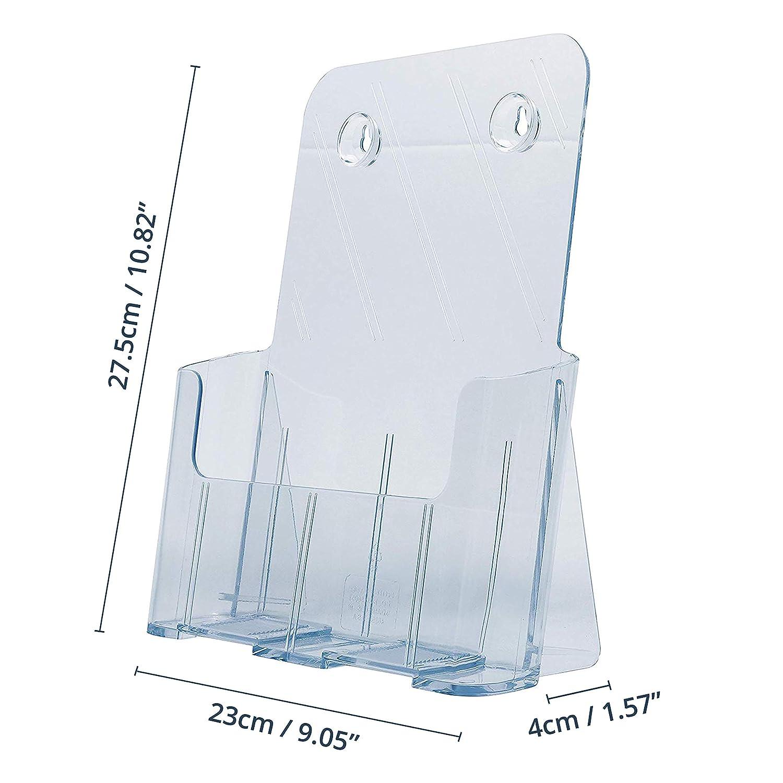 Soporte para Documento Tama/ño A4 27.5cm de Altox 23cm de Anchox 4cm de Profundidad -Expositor Folleto 1 Compartimento de Pared y Sobremesa para Revista Pack de 2 Soporte Acr/ílico Transparente