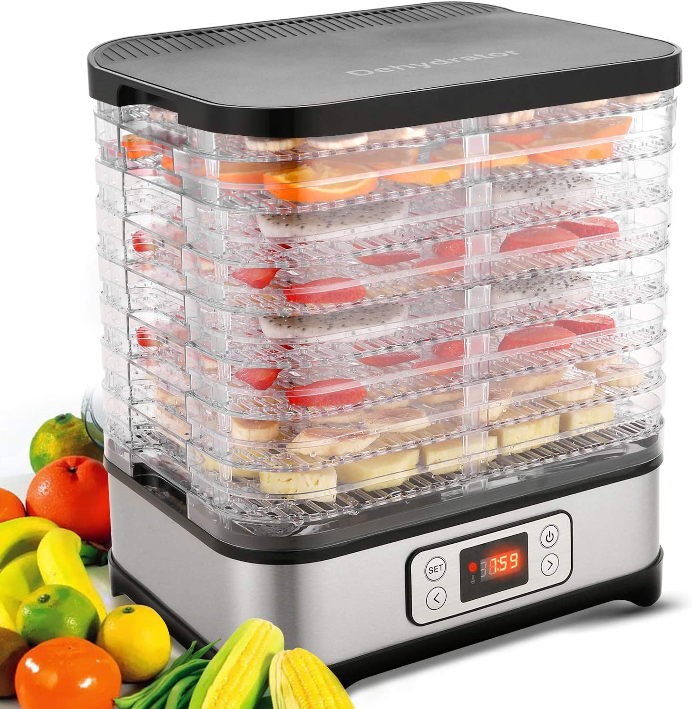 Homdox Food Dehydrator Machine, 8 Trays Food Dryer for Jerky/Meat/Beef/Fruit/Vegetable, Digital Timer and Temperature Control(95ºF-158ºF),400 Watt, BPA Free
