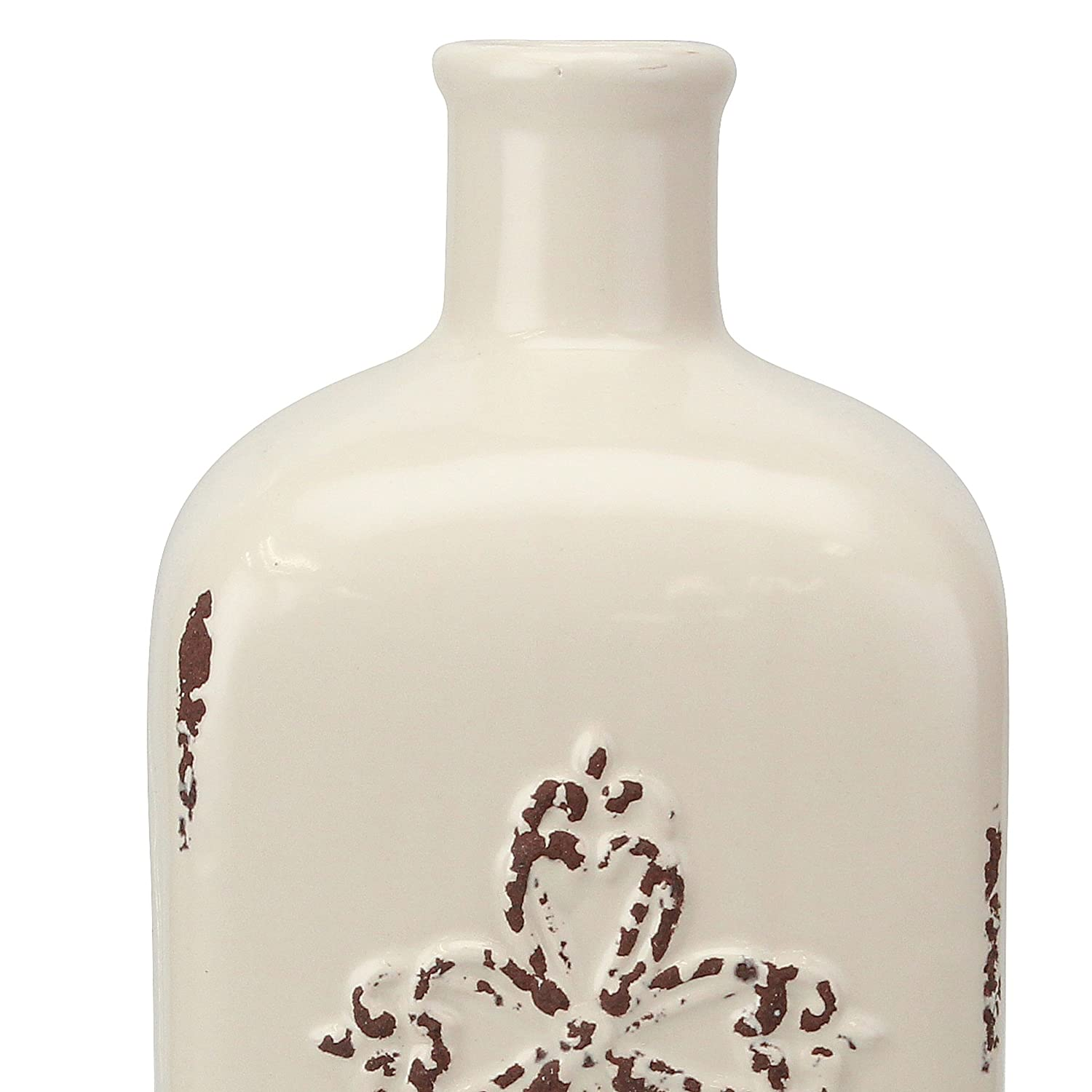 "French Country Home Decor Accents Stonebriar Decorative 12/"" Worn White Ceramic Bottle with Cross Detail Vintage Vase Decoration for Dried or Artificial Flowers"