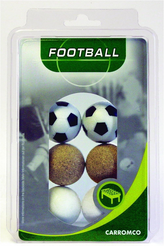 Carromco 62606 Pelotas de futbolin, Unisex, Multicolor (Negro y Blanco/Blanco/Corcho Natural), 36 mm Conjunto de 6: Amazon.es: Deportes y aire libre