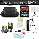 16GB Accessory Kit For Nikon Coolpix B500, L330, L340 L810 L820 L620 L830, L840 Digital Camera Includes 16GB High Speed SD Memory card + 4AA High Capacity Rechargeable NIMH Batteries And Rapid Charger + Case + Tripod + +