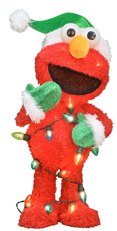 productworks 24 inch pre lit 3d sesame street elmo with string of lights christmas - Sesame Street Outdoor Christmas Decorations