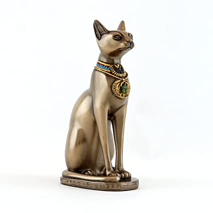 Amazon.com: Top Collection Egyptian Bastet Statue 5.5-Inch Egyptian Goddess of Protection Sculpture in Cold Cast Bronze: Home & Kitchen