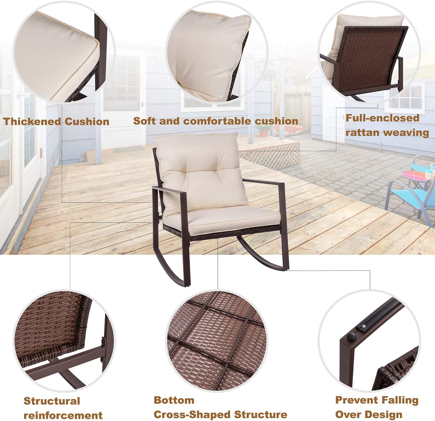 W//Cushions Sun Lounger Set Poly Rattan type2 Festnight Set of 2 Outdoor Patio Wicker Chaise Lounge Chair,1 Table